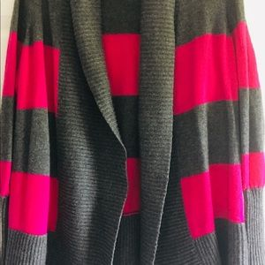 CASLON GREY AND PINK STRIPED CARDIGAN SIZE 1X